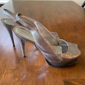 Bebe Metallic Silver Heels